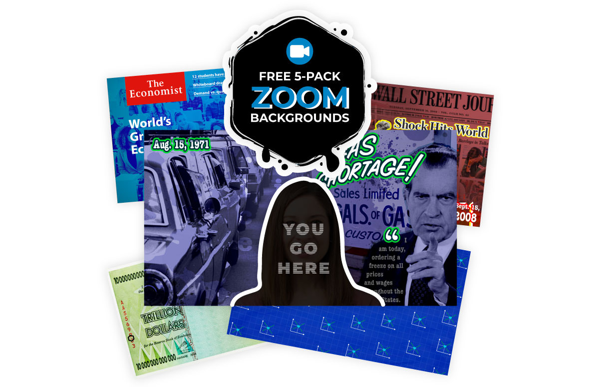 Marketing materials depicting the free 5-pack zoom background offer